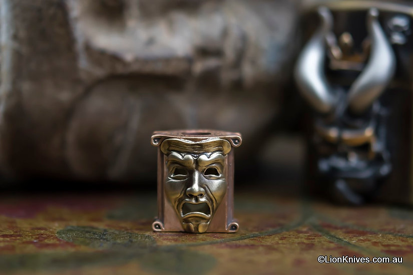 Techno Silver Theatrical Mask Handmade Bronze & Brass Lanyard Bead, Russia