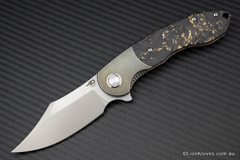 Bestech Bowietie Folding Knife Titanium & Gold Shred Carbon Fibre, M390 Blade