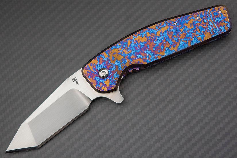 Nate's Blade Co Full Dress Timascus Framelock Flipper Custom Knife S35VN Blade