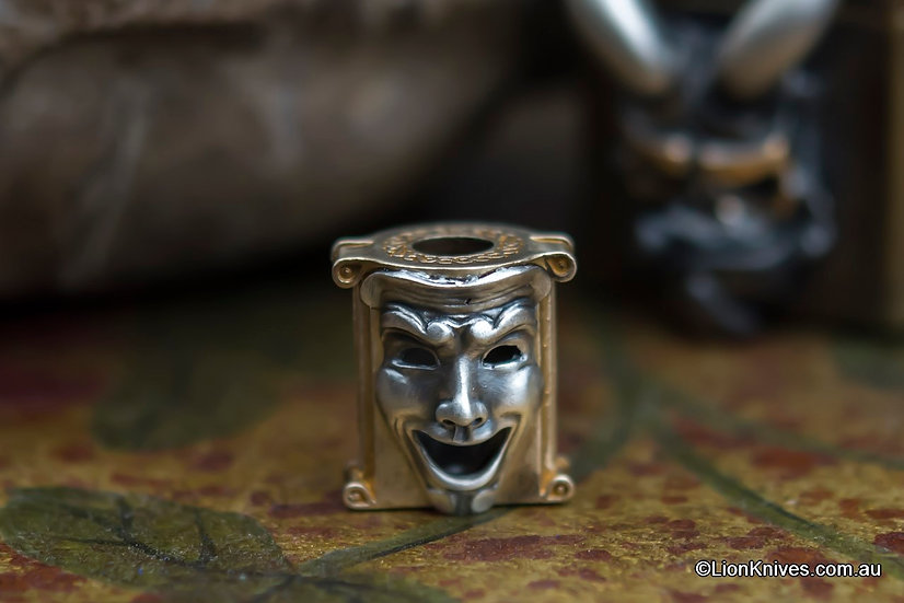 Techno Silver Theatrical Mask Handmade Brass & Silver Lanyard Bead, Russia