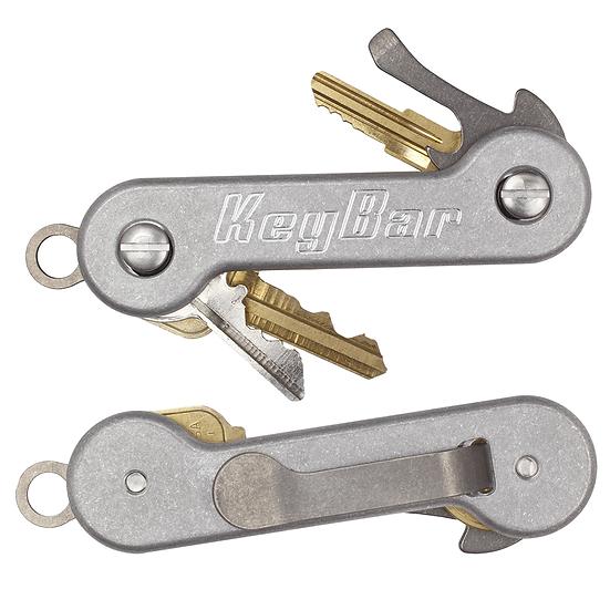 KeyBar Aluminium Key Organiser Titanium Clip
