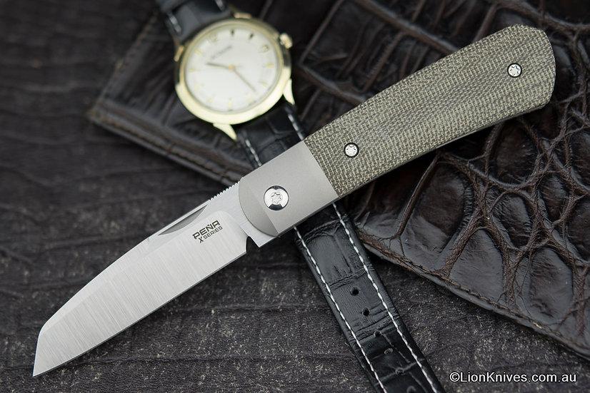 Pena Knives X-Series Apache Front Flipper Knife M390 Blade, Green Canvas Micarta