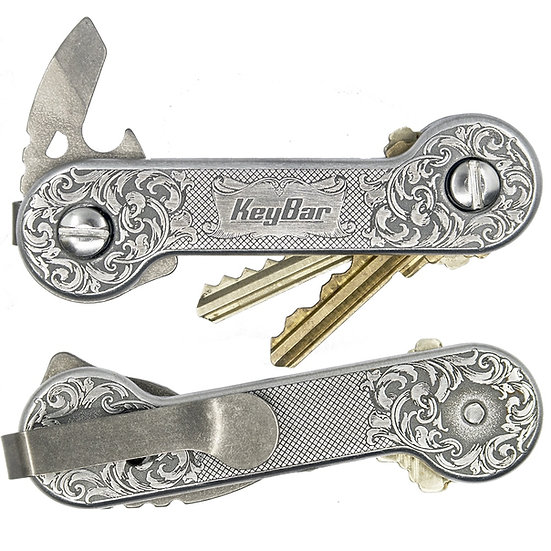 KeyBar EngraverHand Edition Aluminium Key Organiser Titanium Deep Carry Clip