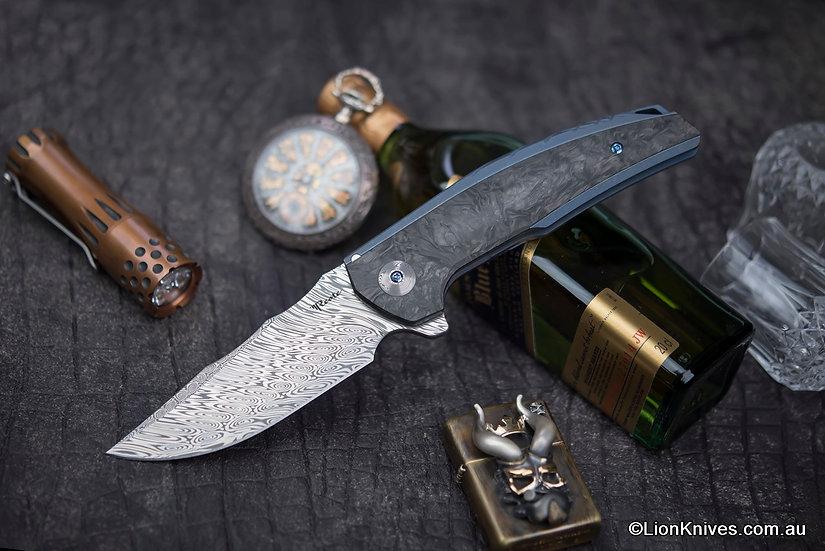 Reate J.A.C.K Folding Knife Blue Titanium & Marbled CF Handle, Damasteel Blade