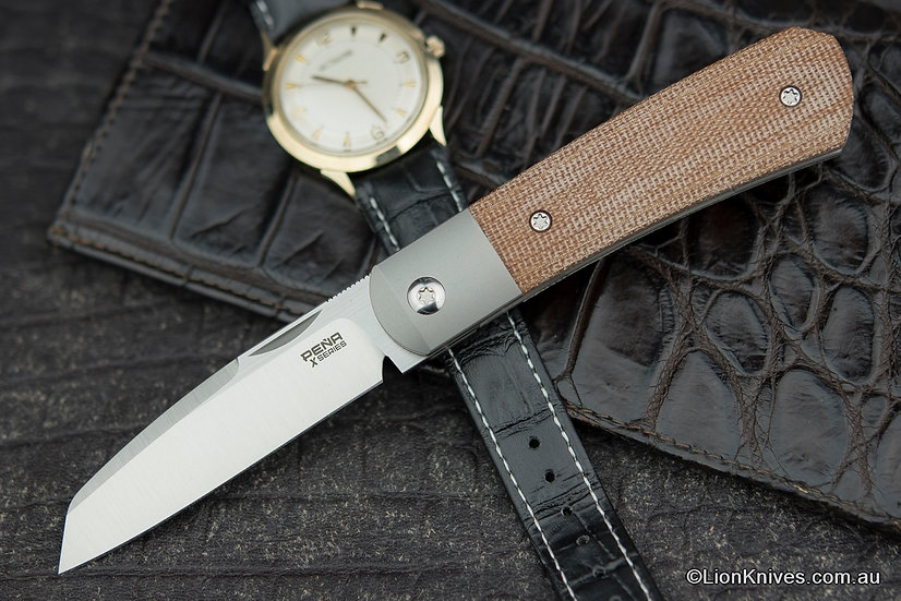 Pena Knives X-Series Apache Front Flipper Knife M390 Blade, Brown Canvas Micarta