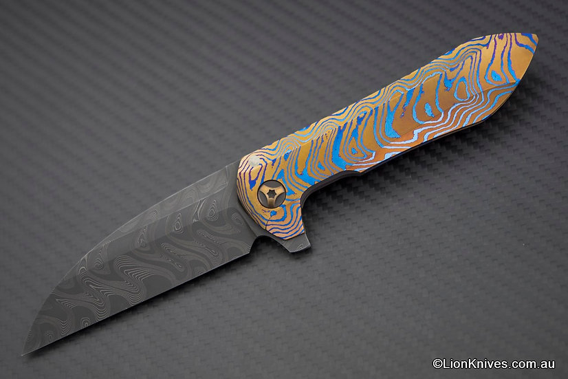 Extremely Rare Custom Peter Rassenti Druid Full Dress Knife Mokuti & Damascus