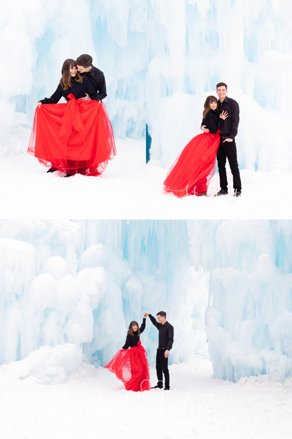 Dillion Ice Castles Engagement Photography Colorado