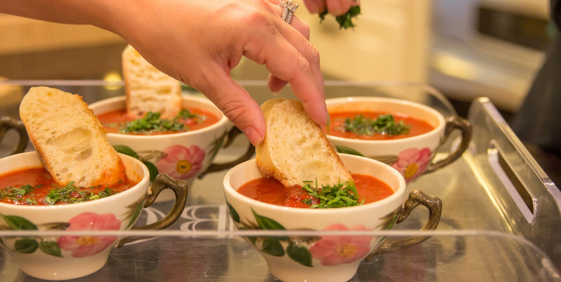 Individual tomato soup with crostini