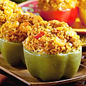 Bell Peppers Stuffed with a Shrimp & Crab French Bread Dressing