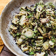 Shaved Brussels Sprouts Sauteed with Caramelized Onions