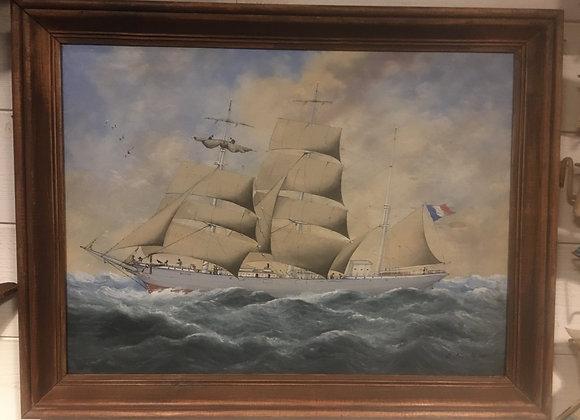 3mâts sous voiles Eugène  Lemetayer fin XIX