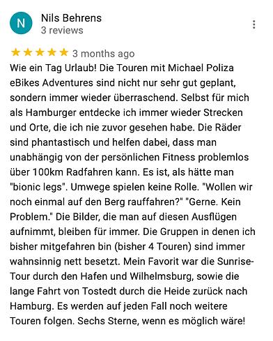 Michael Poliza eBike Adventures Review eBike Tour Hamburg