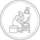 Icon of nurse helping senior citizen