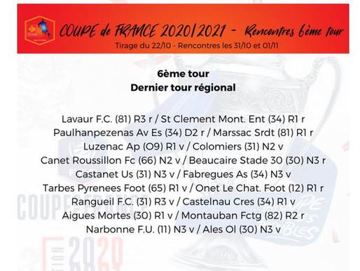 TIRAGE EN DIRECT COUPE DE FRANCE 6° TOUR: