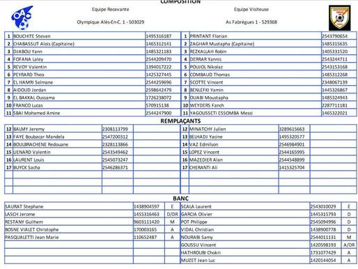 match O.ALES / AS FABREGUES 32° coupe de France: