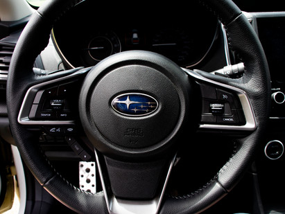 Steering wheel of a Subaru Impreza