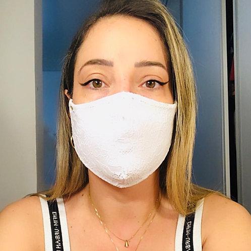 Máscara Malha Dupla com Renda - Adulto Feminina