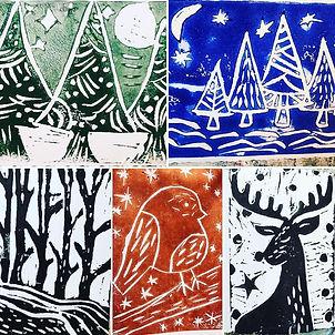 Lino cut christmas cards.jpg
