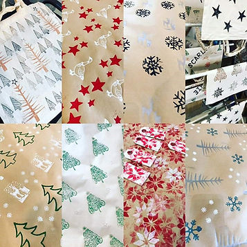 Christmas block printing tags wrap and bags.jpg
