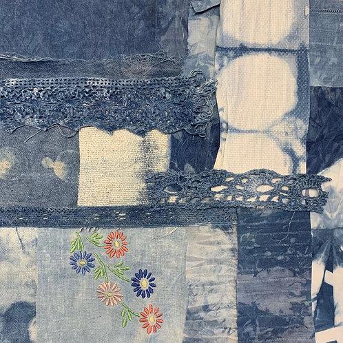 'Indigo 4' slow stitch/collage kit