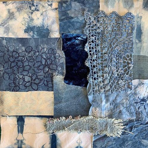 'Indigo 1' slow stitch/collage kit