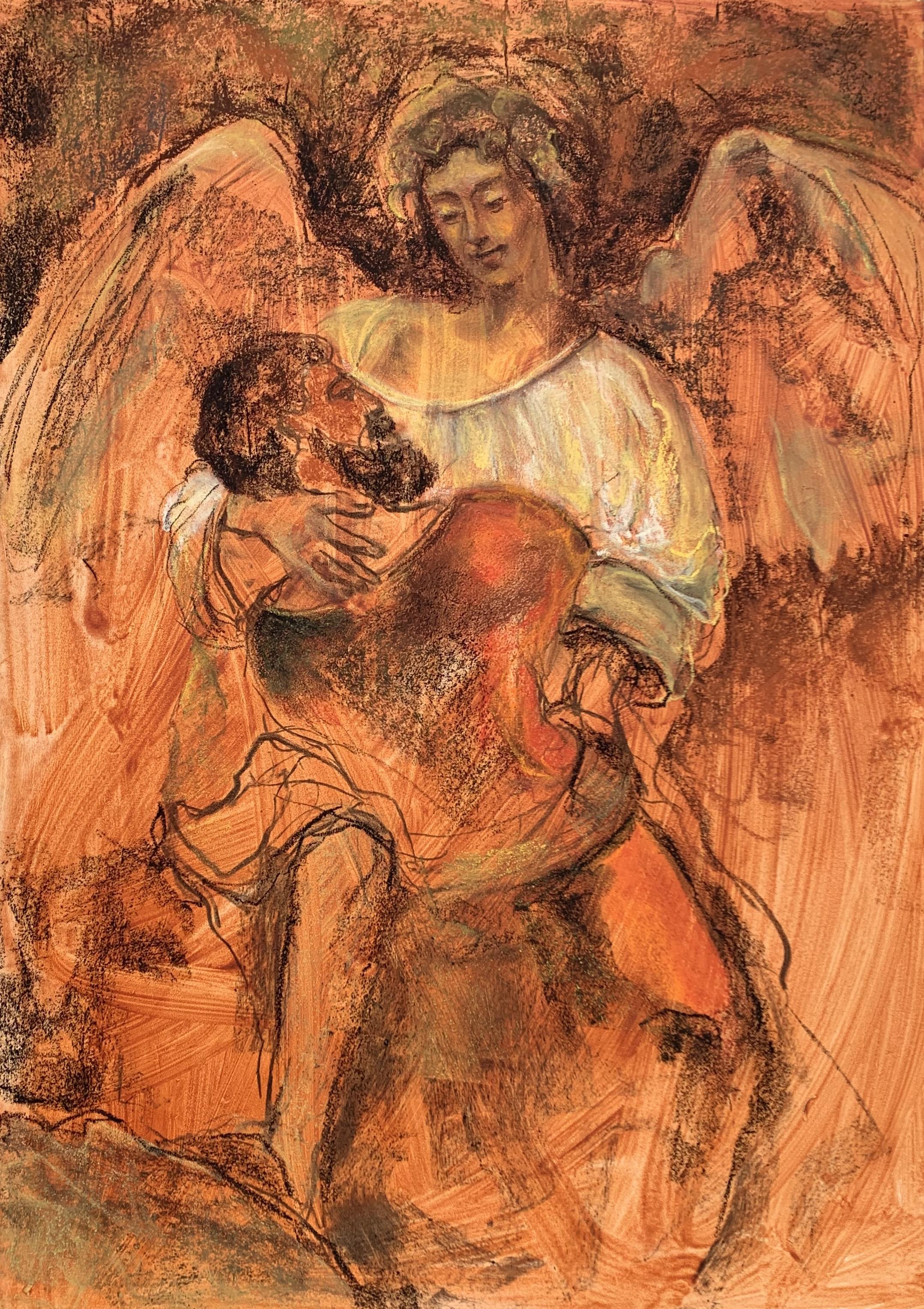 Studie naar Rembrandt, Jacob en de engel