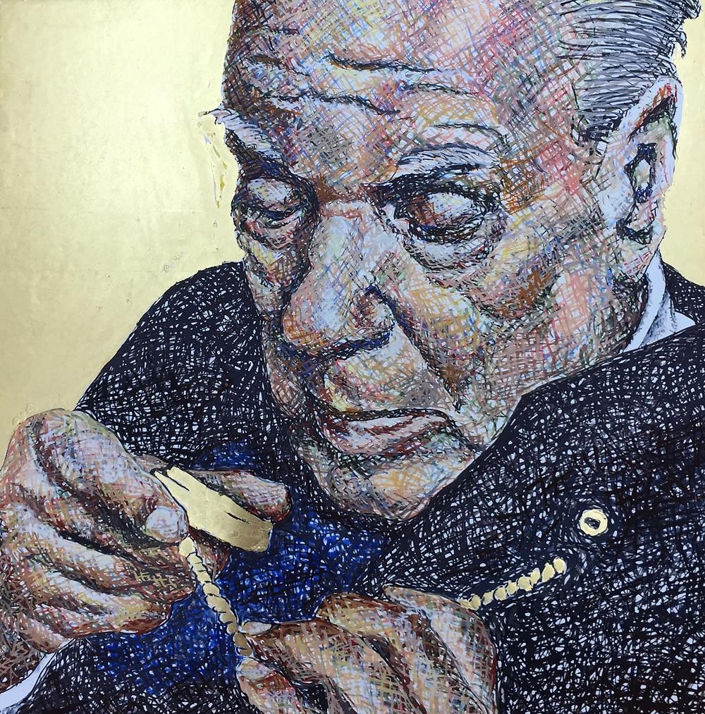 Jorge Luis Borges geschilderd met ei tempera