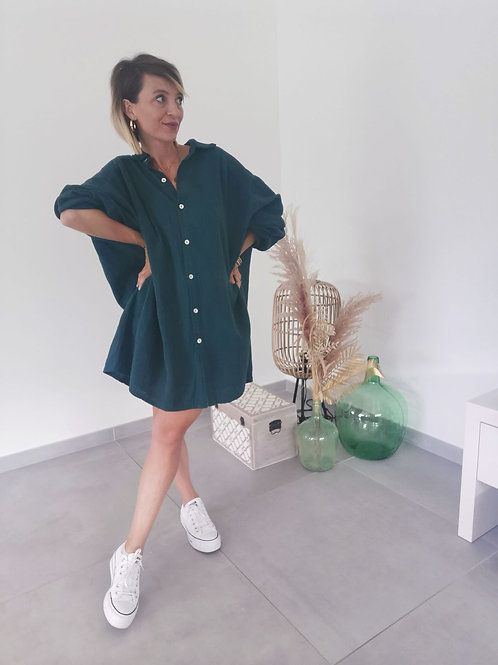 Maxi Chemise ANAIS bleu vert
