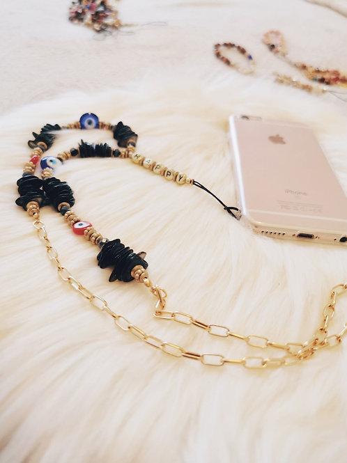 Collier Perles noires Téléphone HAPPY