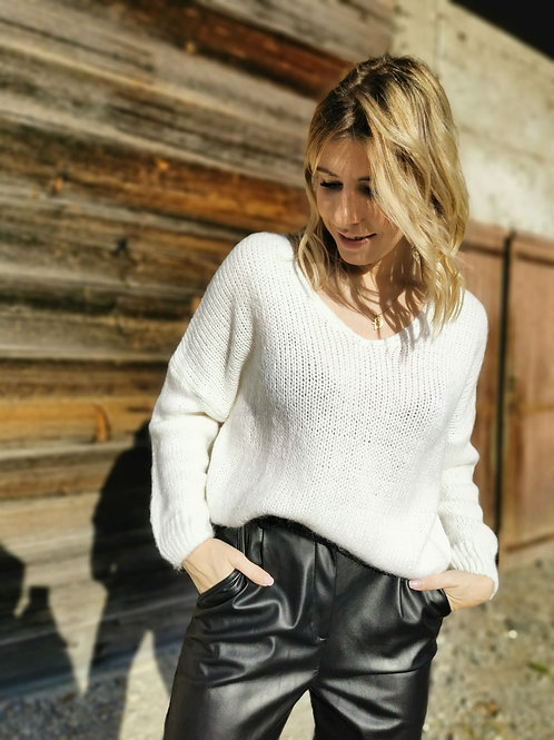 Pull en mailles blanches CARLA