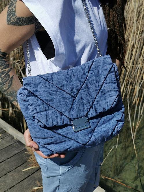 Sac à main jean délavé BRONX (version bleue)