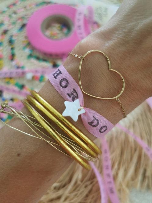 Bracelet ruban fita brésilien rose BAHIA