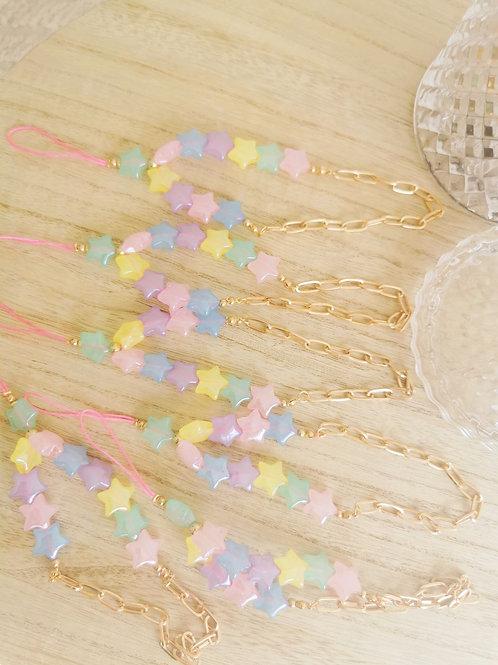 Bracelet Bijoux de téléphone Perles étoiles PASTEL