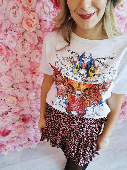 T-shirt ROCK till drop blanc