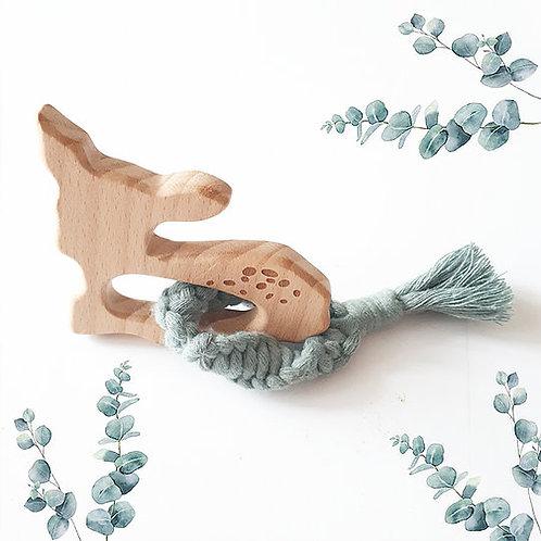 Hochet de dentition Biche en macramé