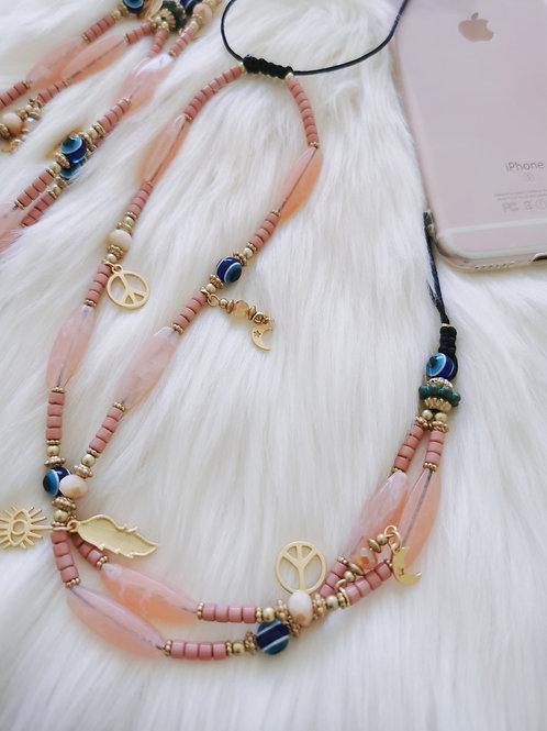 Collier Perles Téléphone ajustable Rose Bloom et breloques gold