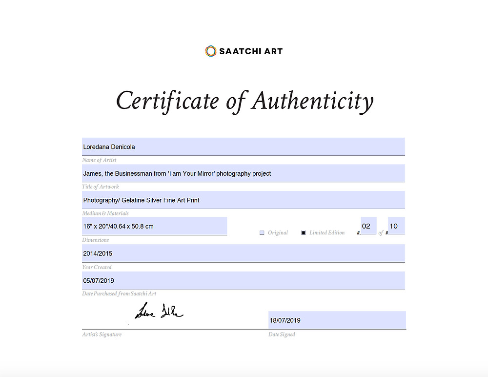 Certificate of Authenticity, Saatchi Art Gallery, London