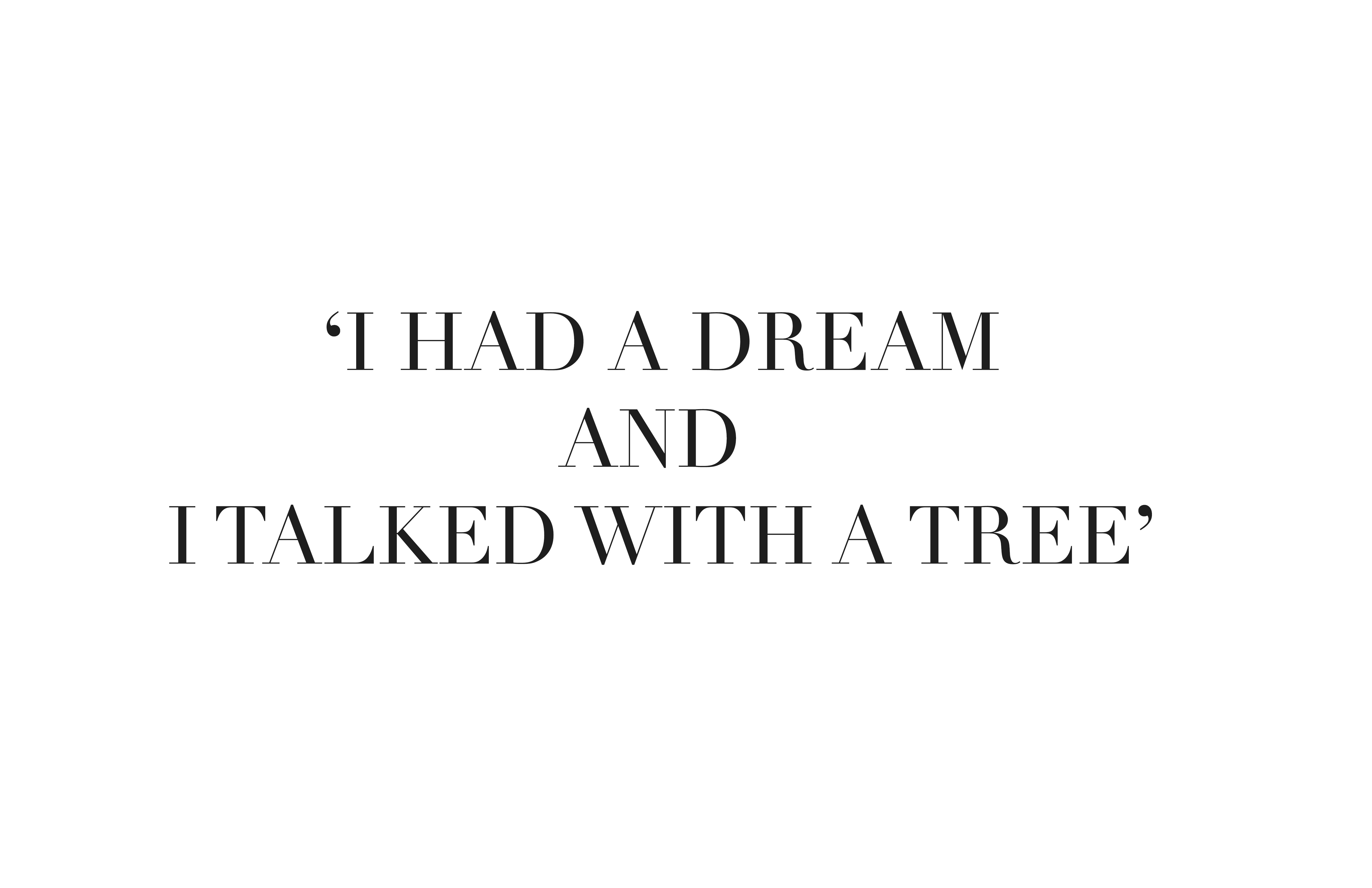 I had a dream & I talked with a tree