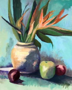 Vase with Apple and Plum