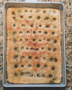 Focaccia with herbs and parmesan