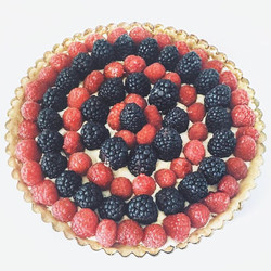 Fresh berry tart filled with hand-whipped lemon mascarpone cream with a shortbread crust