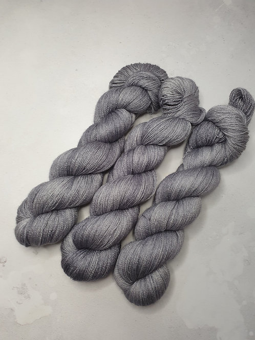 BFL silk lace weight yarn, 100 g, SILVER GREY