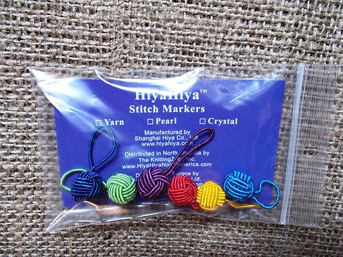 HiyaHiya yarn ball stitch markers, rainbow stitch markers, 6pcs