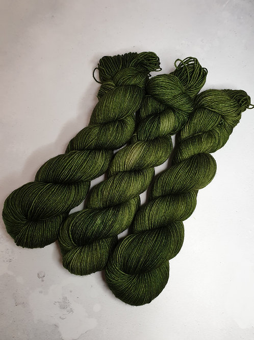 Yak, SW Merino, Nylon fingering weight yarn, 100 g, MOSS GREEN