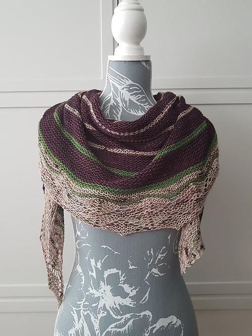OVER THE MOORS SHAWL, knitting kit, pattern and yarn kit