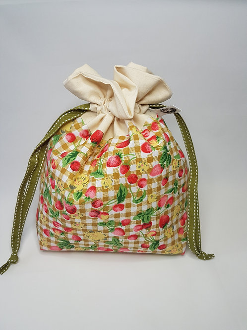 """Small Lined DRAWSTRING BAG, STRAWBERRY, #106, 10""""x 7""""x 3"""", project bag"""