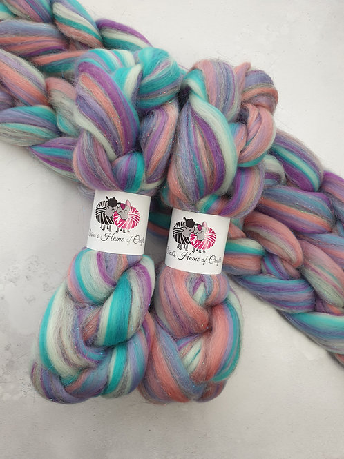 Merino Stellina roving, wool top, 100 g, ONCE UPON THE TIME