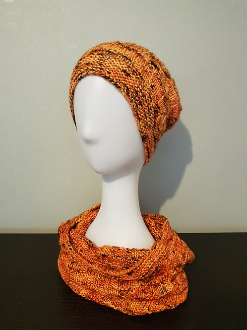THE PUMPKIN PATCH HAT AND COWL knitting kit, pattern and yarn kit