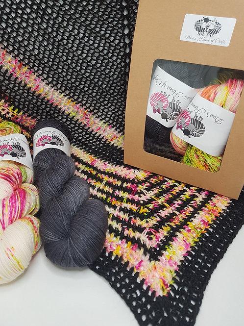 SUMMER NIGHTS SHAWL, crochet kit, pattern and yarn kit