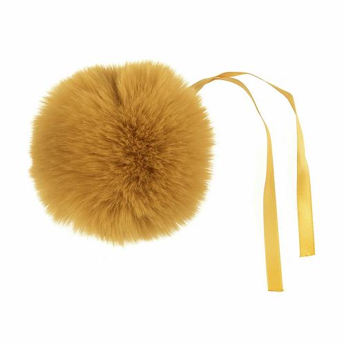 Faux Fur POM POMS, 11cm, MUSTARD